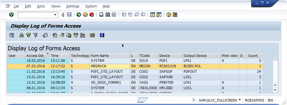 SAP-Spool-Analyse Identify inactive forms in SAP