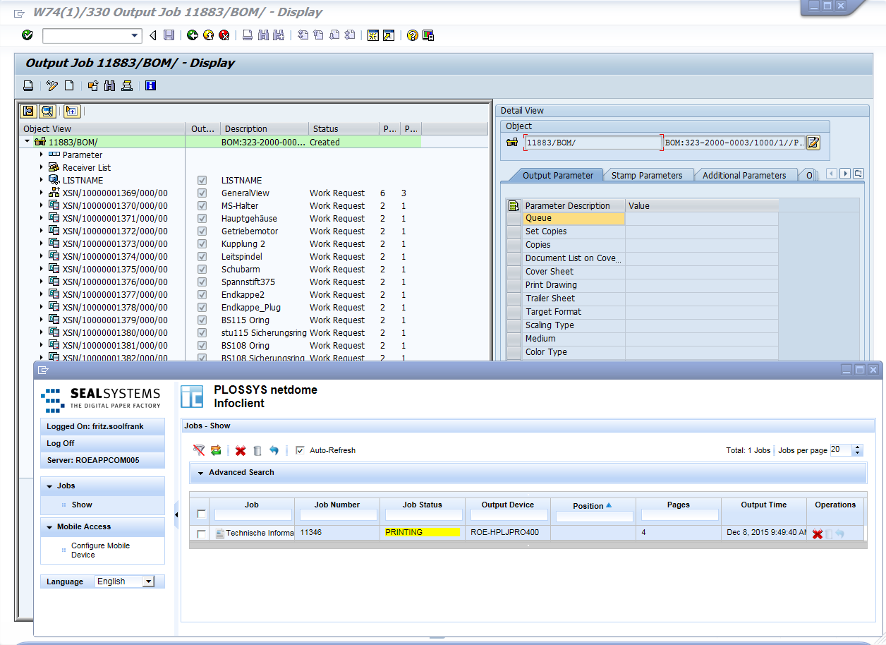 Compile print and distrbibution orders for SAP DMS