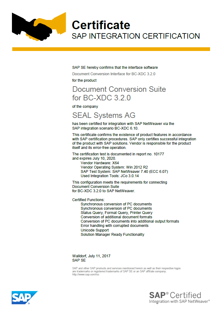 SAP BC-XDC Certification for Integration passed with Success - SEAL ...