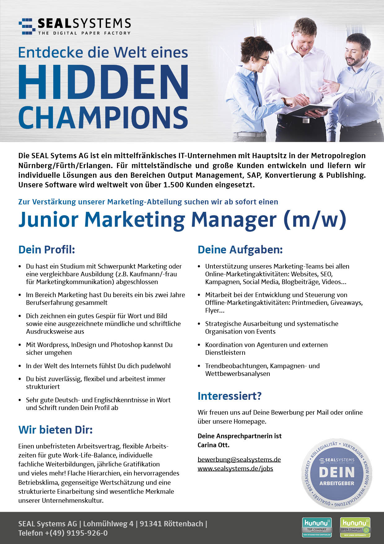 2018-06-16-Junior-Marketing-Manager Jobangebot: Junior Marketing Manager (m/w) in Erlangen gesucht